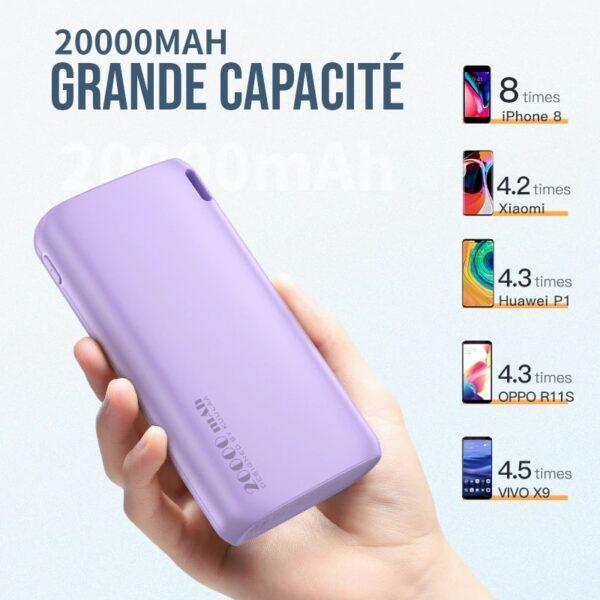 Batterie externe 20000mah grande capacité