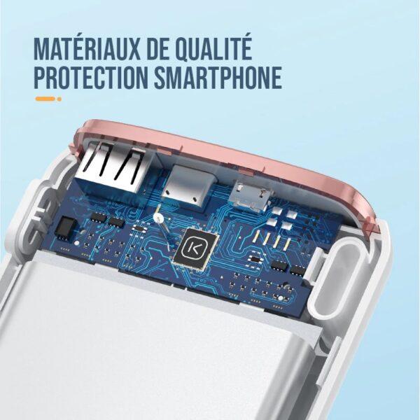 batterie externe 20000mah matériaux de qualité et protection smartphone