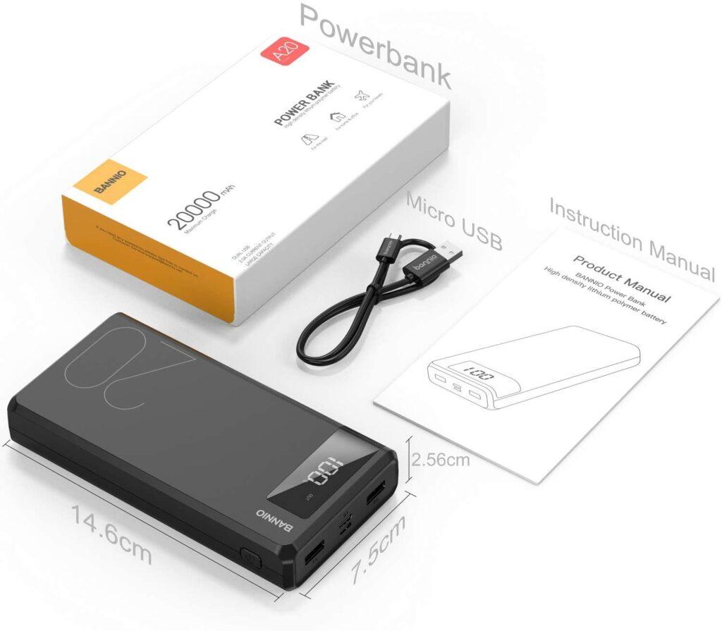 Batterie externe 20000mAh accessoires inclus