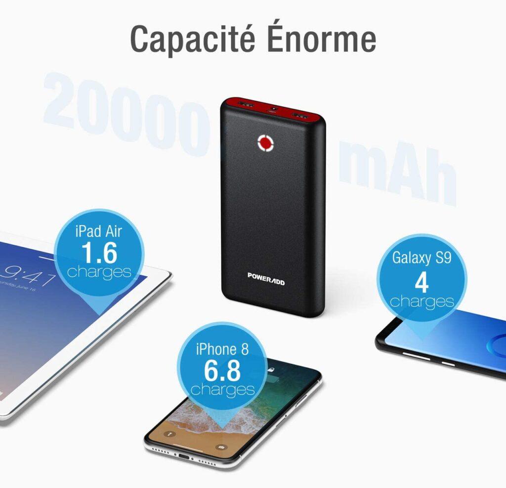 Chargeur externe 20000mAh PilotX7 Capacité énorme