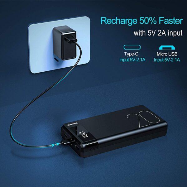 Batterie externe 20000mAh 50% plus rapide