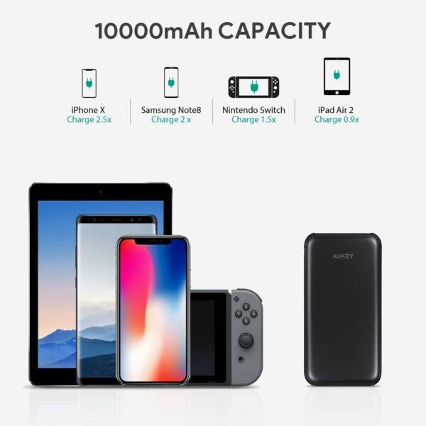 batterie externe 10000mAh Aukey capacité
