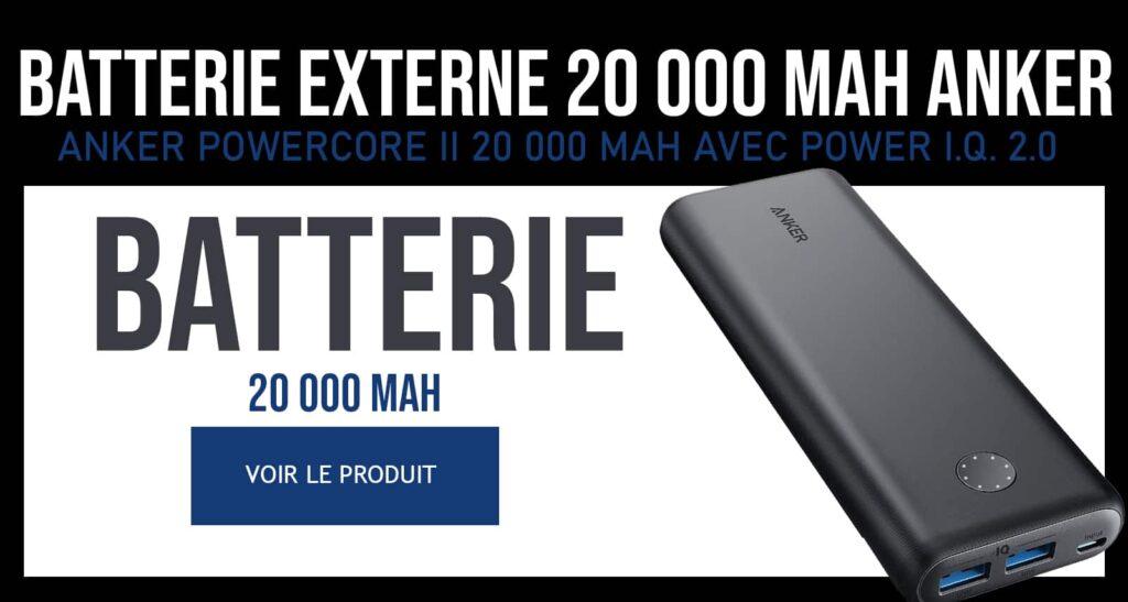 Bannière commerciale batterie EXTERNe 20000mAh Anker
