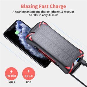 Batterie externe 30000mAh solaire charge rapide