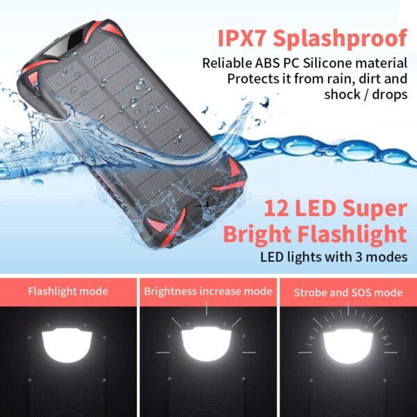 Batterie externe 30000mAh solaire waterproof