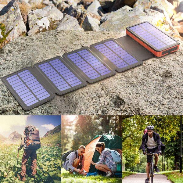 Batterie externe Solaire 20000mAh 4 panneaux