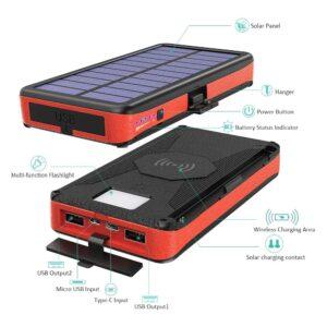 Batterie externe Solaire 20000mAh caractéristiques