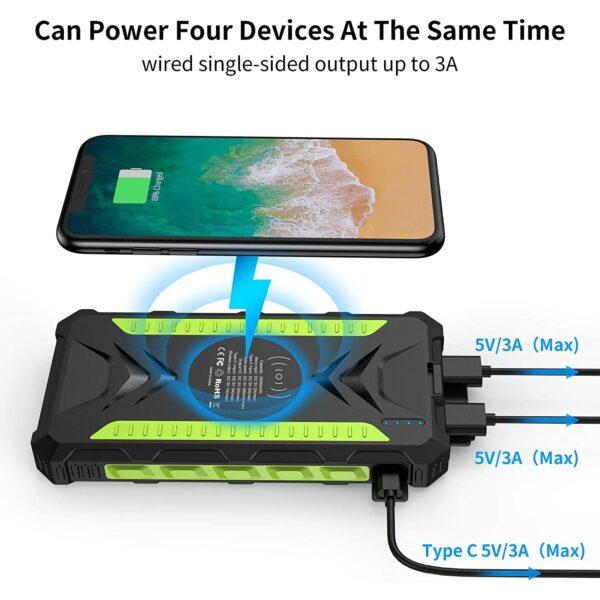 Batterie externe solaire 20000mAh Slols charge sans fil