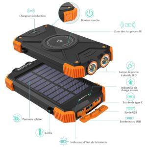 Batterie externe solaire 20000mAh option