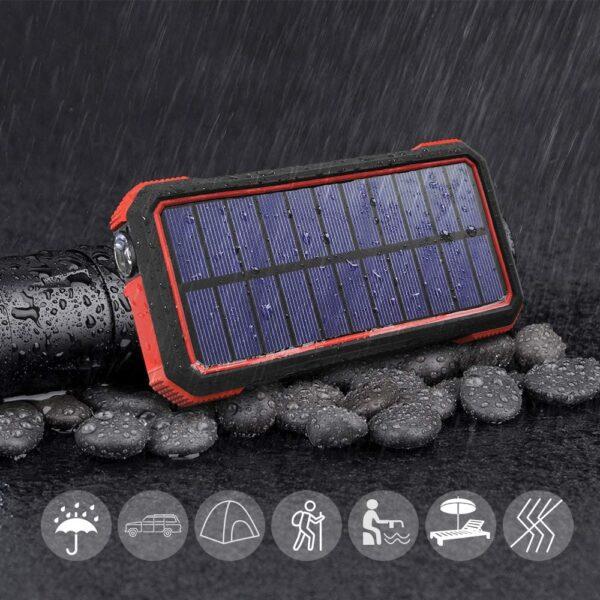 Batterie externe solaire 20000mAh résistant