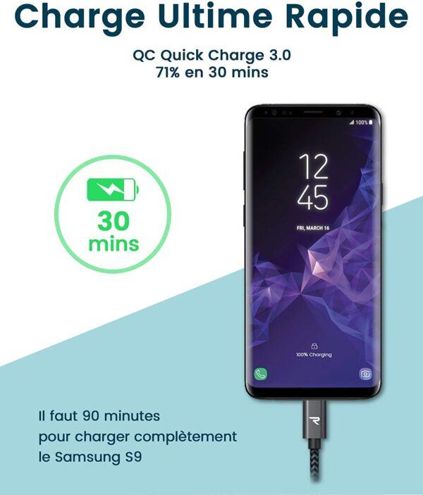 Câble USB Type-C Rapide Rampow charge rapide