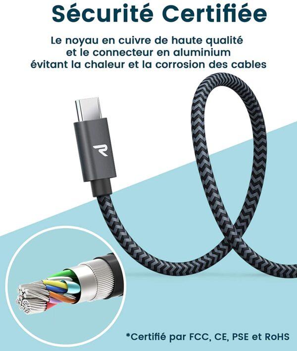 Câble USB Type-C Rapide Rampow sécurité certifiée