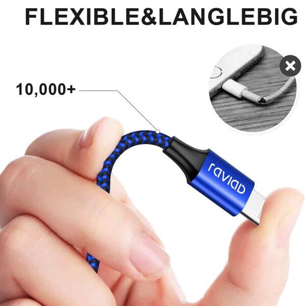 Câble iPhone Raviad flexible et resistant
