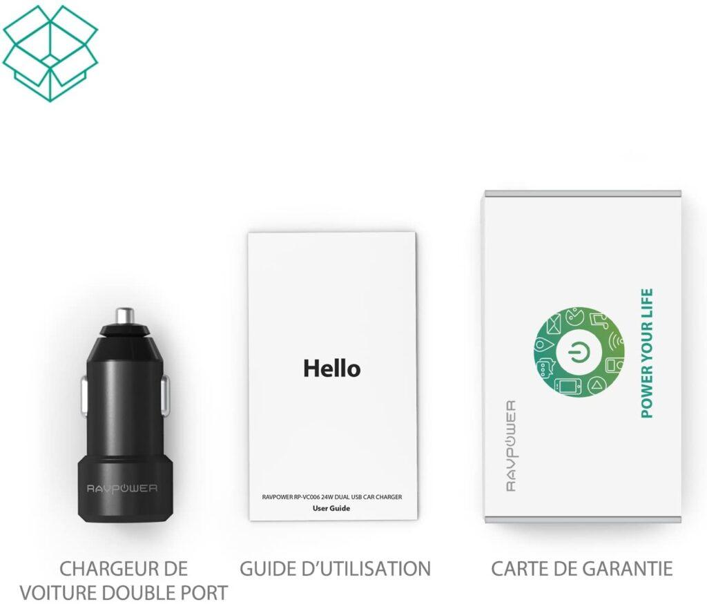 Chargeur Allume Cigare RAVPower 24W contenu carton