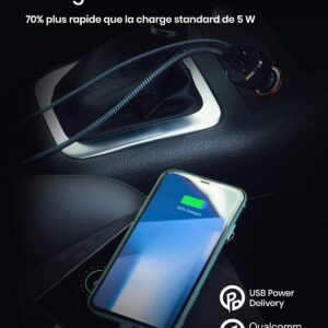 Chargeur Allume Cigare Rampow 37.5W charge rapide