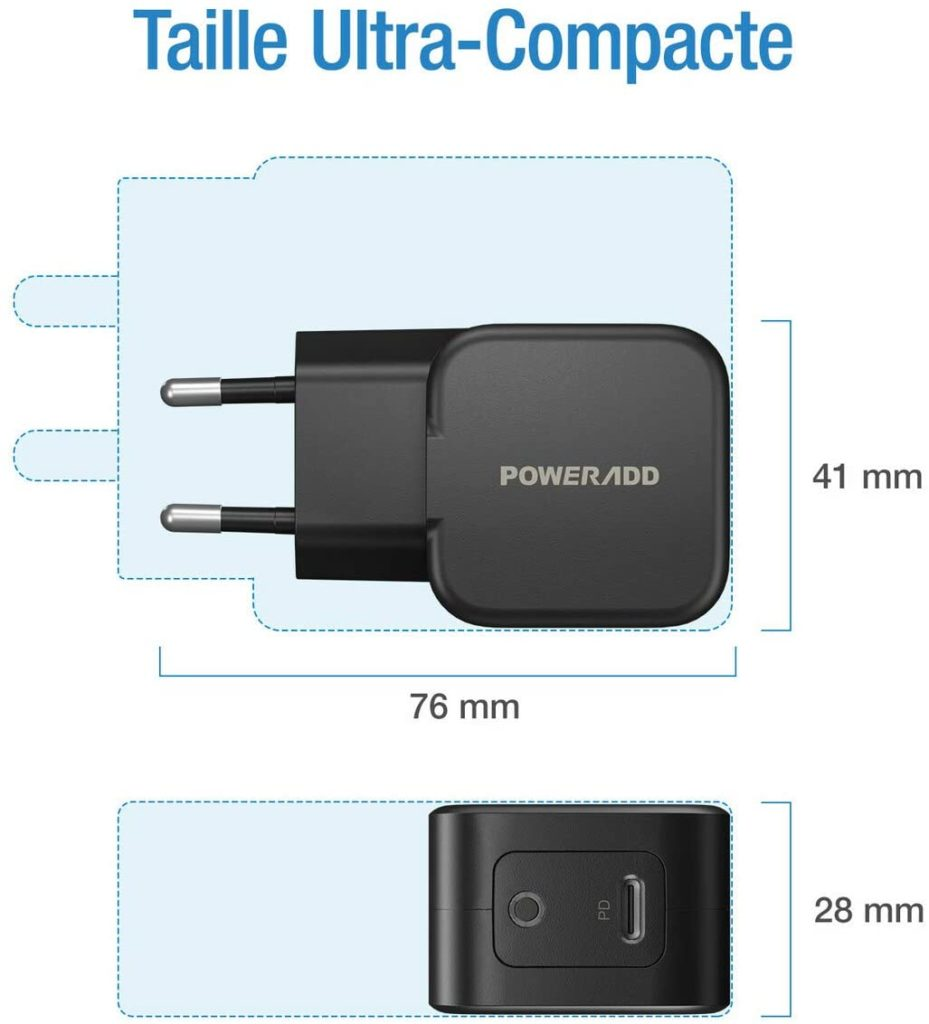 Chargeur Rapide PowerAdd 30W taille compact