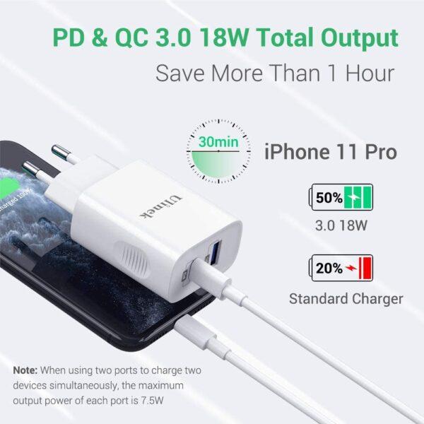Chargeur rapide 3.0 18W Ulinek pd et qc 3.0