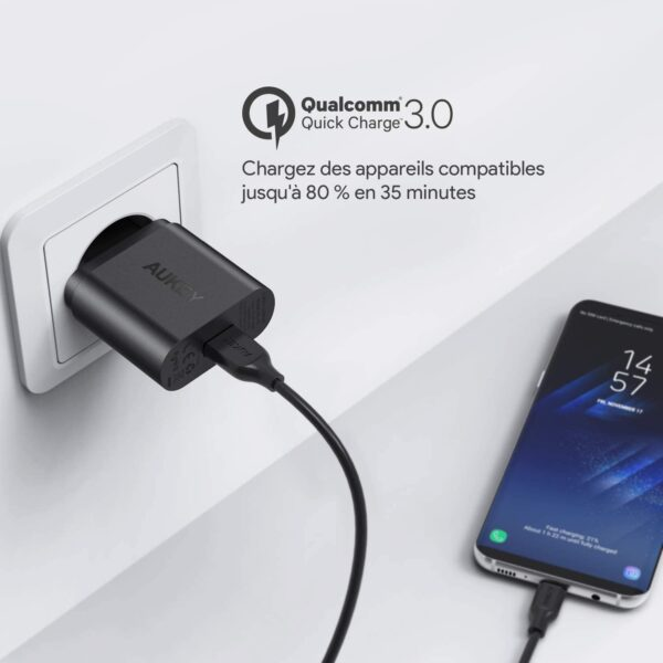 Chargeur rapide 3.0 Aukey Qualcomm Quick Charge
