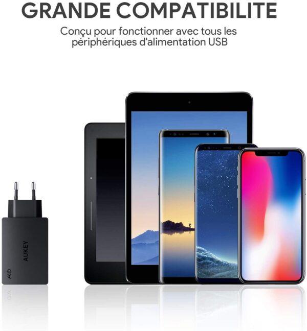 Chargeur rapide Aukey 3 ports 30W compatibilité
