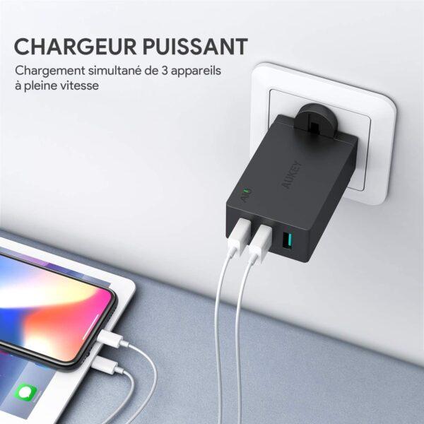 Chargeur rapide Aukey 3 ports 30W puissant