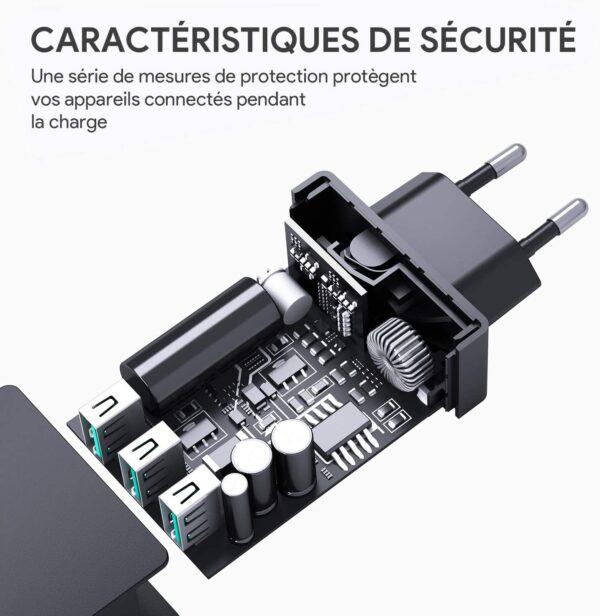 Chargeur rapide Aukey 3 ports 30W sécurité