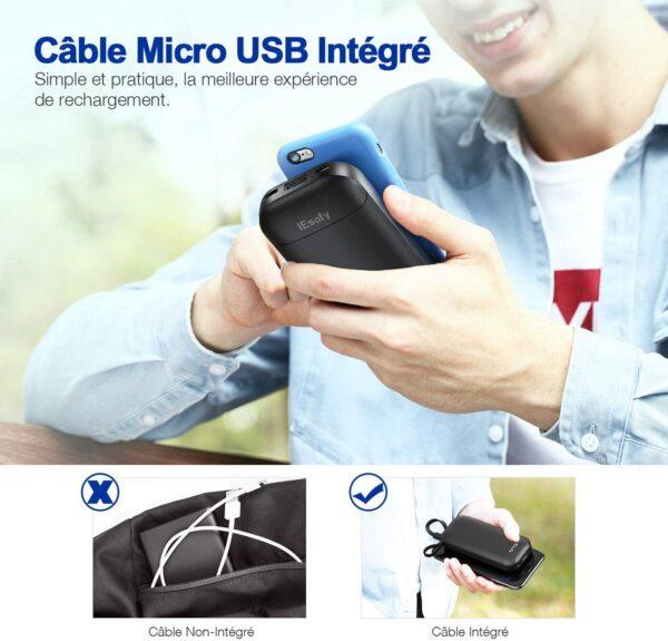 batterie externe 10000mAh IEsafy câble intégré