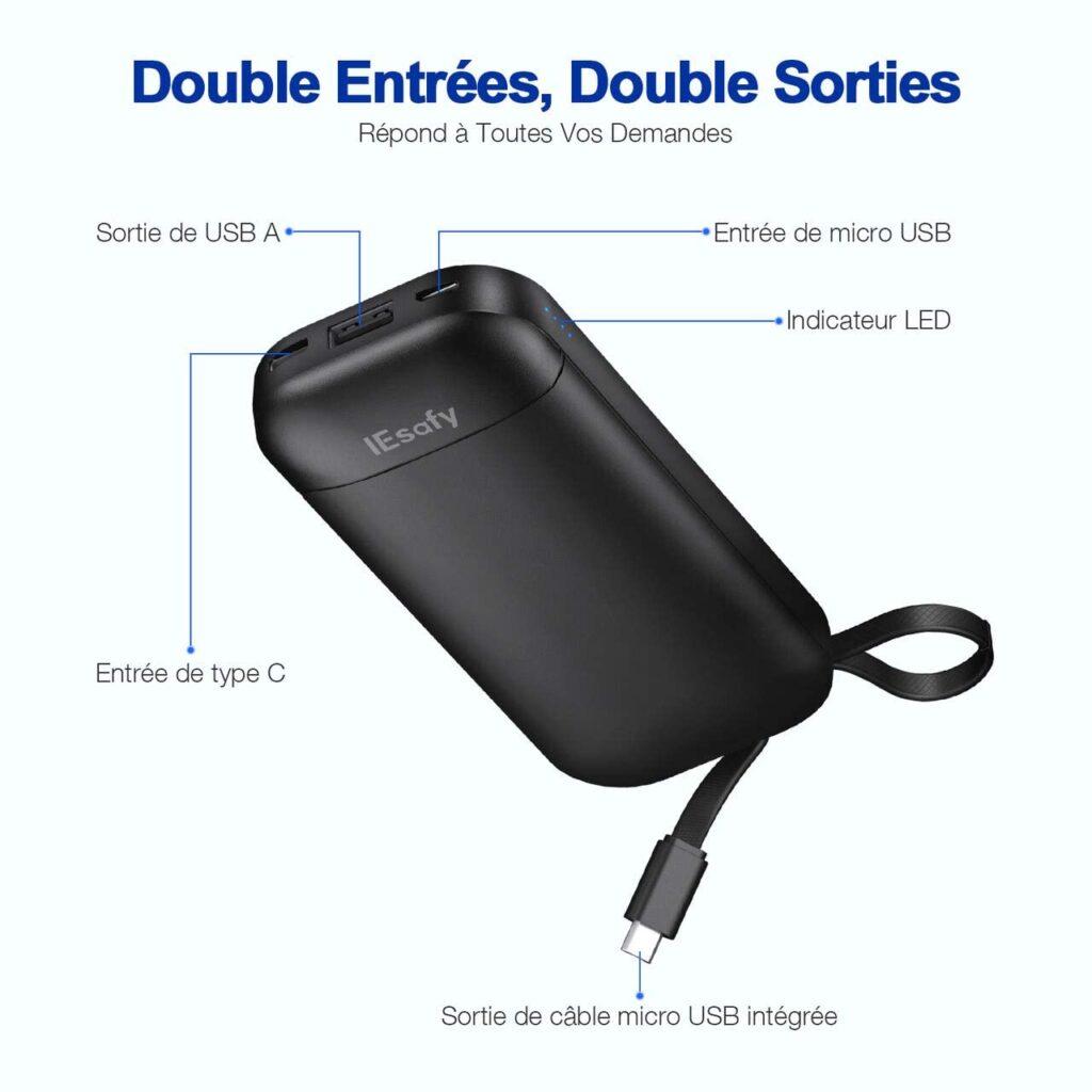 batterie externe 10000mAh IEsafy double entrée duoble sortie