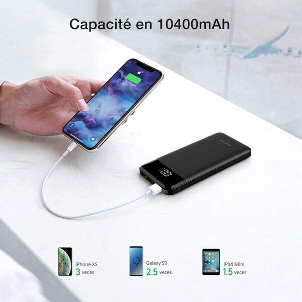 batterie externe 10000mAh charmast capacité