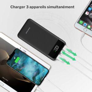 batterie externe 10000mAh charmast charge 3 appareils simultanément