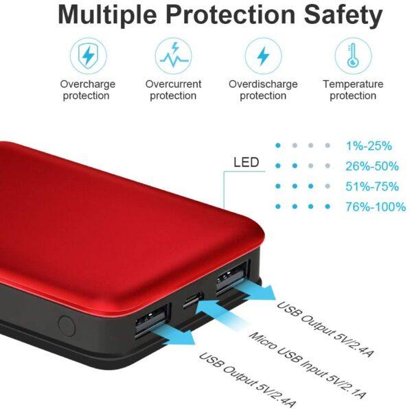 batterie externe 10000mAh vancely mini protection