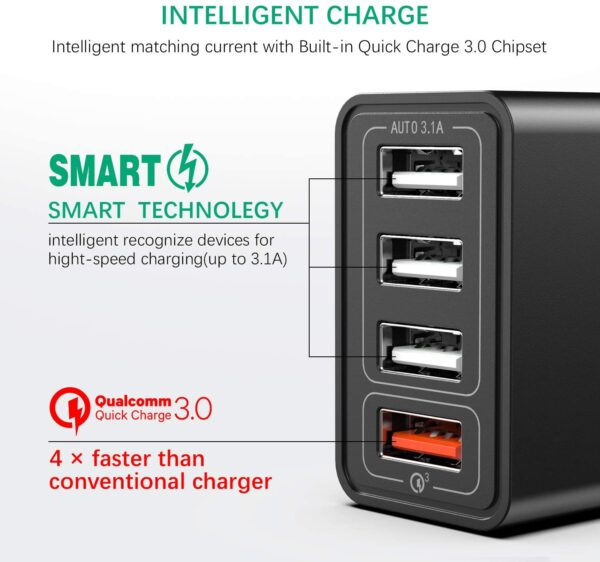 chargeur rapide 3.0 4 ports USB IWAIVON charge rapide