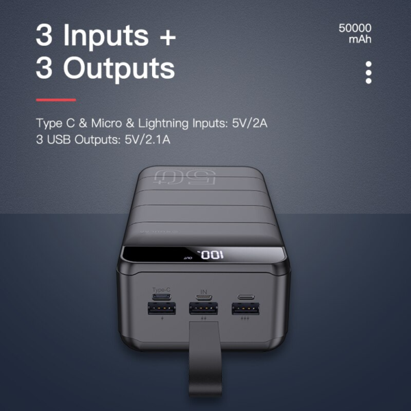 #5 Batterie externe 50000mAh OverK 3 entrées et sorties