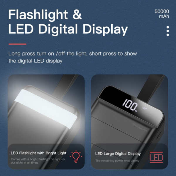 #5 Batterie externe 50000mAh OverK flashlight