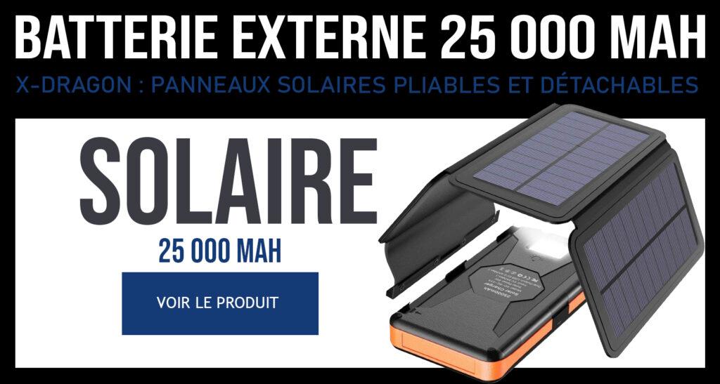 Batterie externe solaire 20000mAh