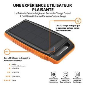 Batterie Externe Solaire 15000mAh RAVPOWER caractéristiques