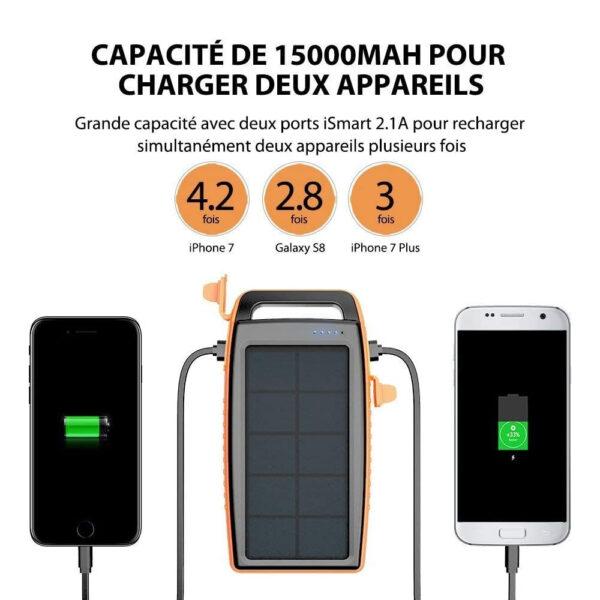 Batterie Externe Solaire 15000mAh RAVPOWER grande capacité