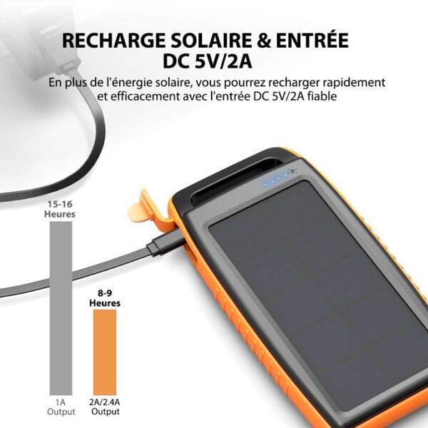 Batterie Externe Solaire 15000mAh RAVPOWER recharge rapide