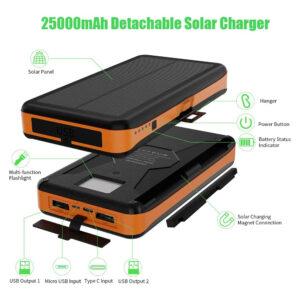 Batterie Externe Solaire 25000mAh XDragon caractéristiques