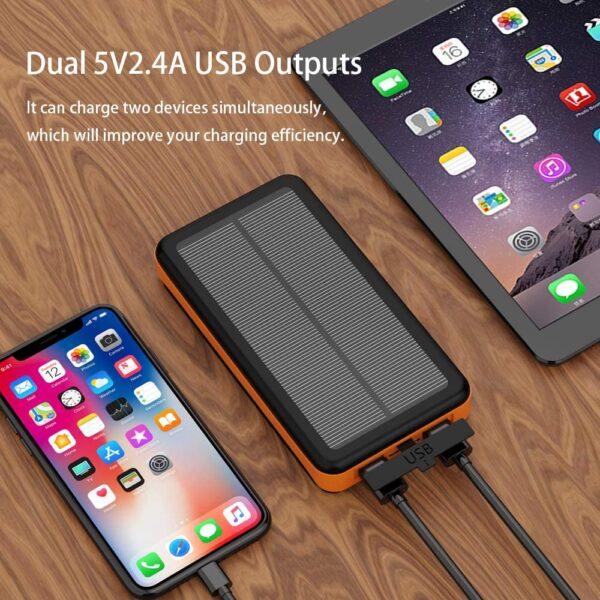Batterie Externe Solaire 25000mAh XDragon charge deux appareils