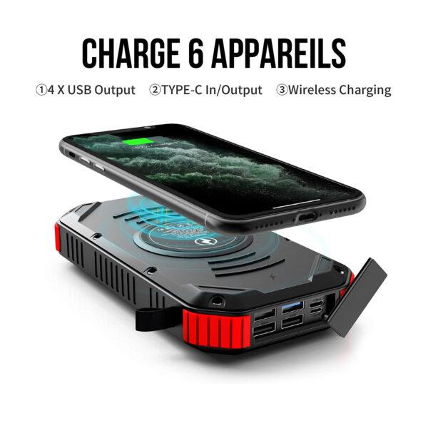 Batterie Externe Solaire 30000mAh 3.0 6 appareils