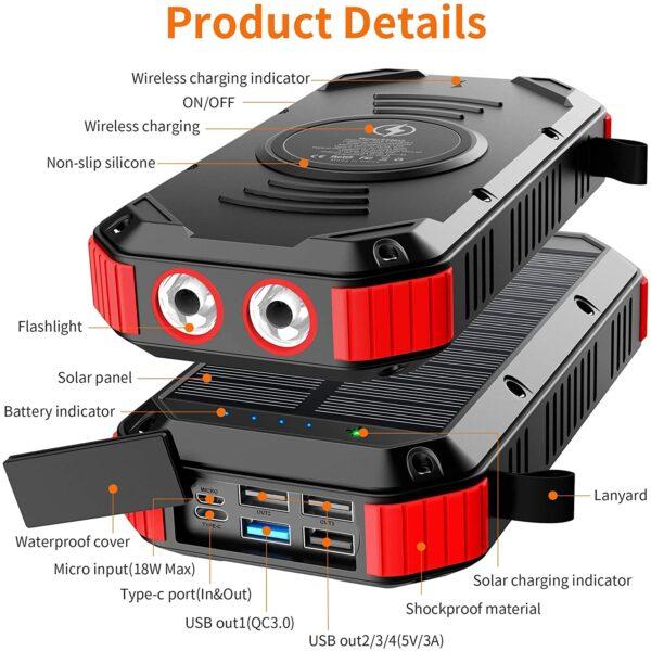 Batterie Externe Solaire 30000mAh 3.0 détails