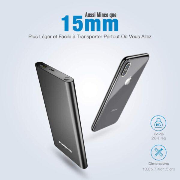 Batterie externe 10000mAh Power Bank fine et légère