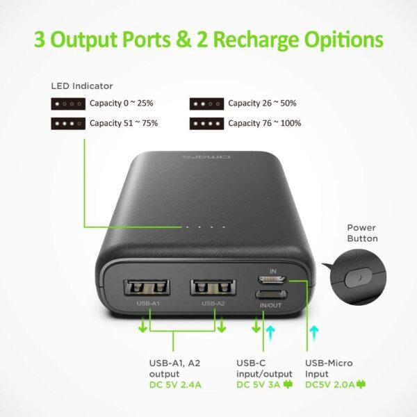 Batterie externe 10000mAh compacte ports USB