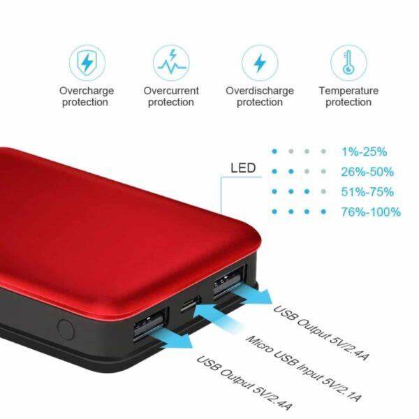 Batterie externe 10000mAh pas cher protection