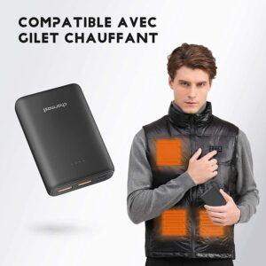 Batterie externe 10000mAh pour veste chauffante compatible