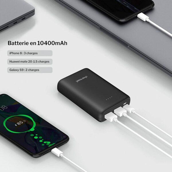 Batterie externe 10000mAh pour veste chauffante usb c 10400
