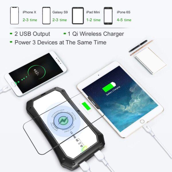 Batterie externe 10000mAh solaire charge plusieurs appareils