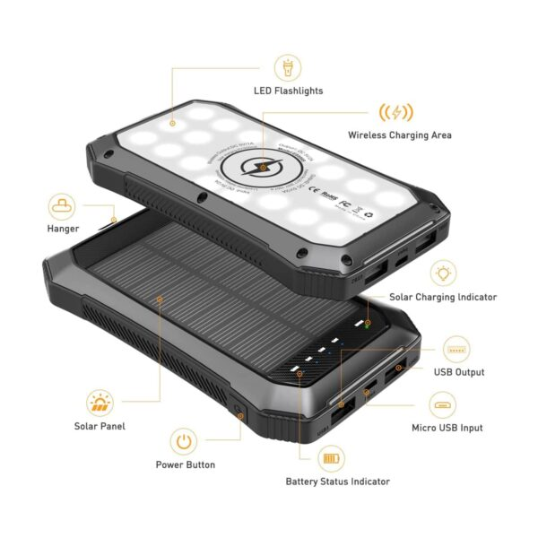 Batterie externe 10000mAh solaire lampe torche led