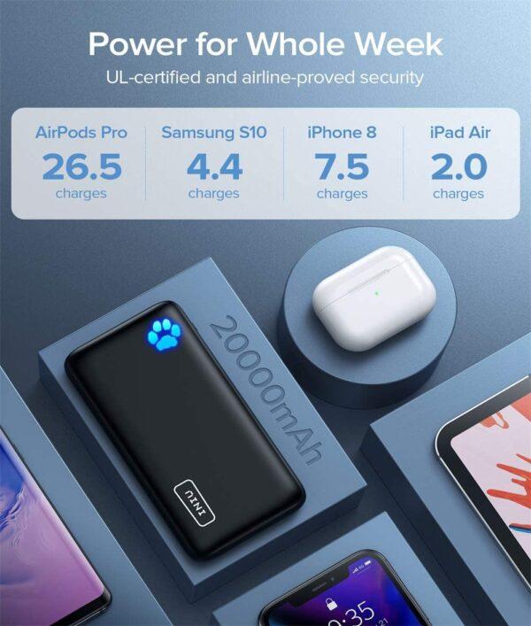 Batterie externe 20000mAh Power Bank plusieurs jours