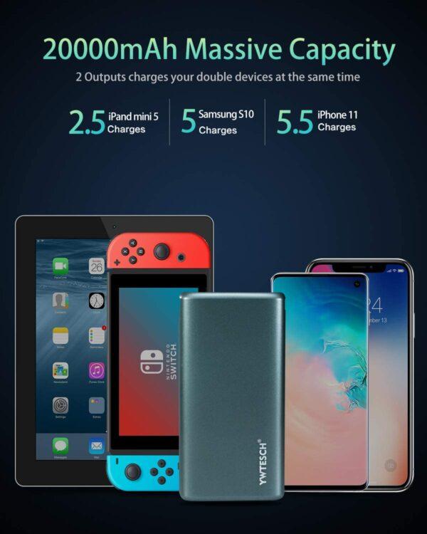 Batterie externe 20000mAh pas cher grande capacité